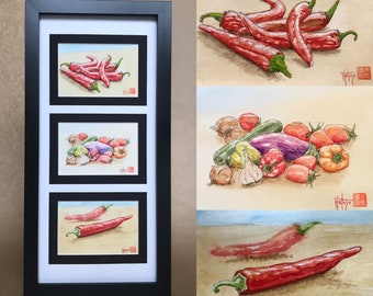 Triptych of original watercolours, hand-painted summer vegetables. Three postcard-sized watercolours.