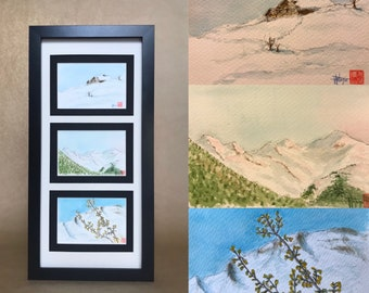 Series of original watercolours, on the Alps in winters. Manigod France, Four hand-painted postcard formats.