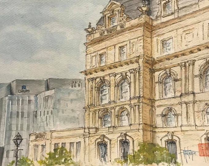 Watercolor format A5, the city hall of Montreal.  Original hand-painted.