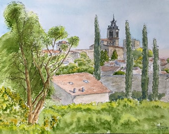 Original watercolor, French Provencal village, Hand painted painting A4 format