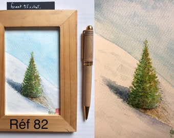 Original watercolor, fir tree in the snow, hand-painted painting, postcard format.