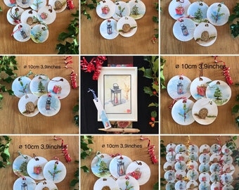 Christmas decoration kit, watercolor and hand-painted cards.