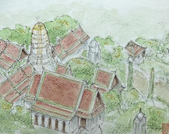 Original watercolor, Temple Bangkok. Hand painted painting.