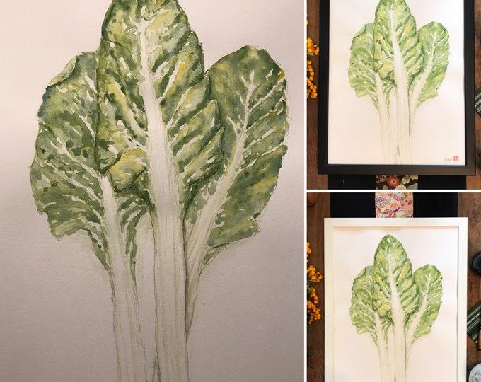 Watercolor, fulshe leaves, original hand-painted.