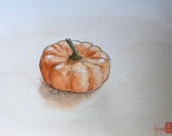Painting in watercolor , patidou squash. hand-painted, original 13x18cm