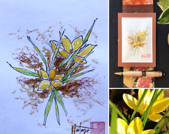 original sketch, the Crocus, hand painted painting with color inks. postcard format