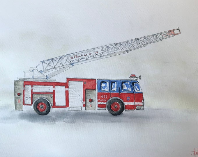 Original watercolor painting, for children's room, the American fire truck .