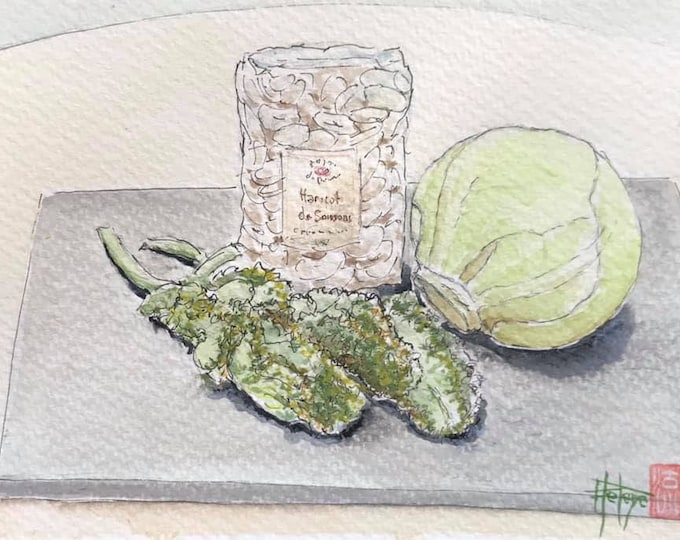 Original watercolor, Soissons beans Kale cabbage and white cabbage. Postcard format. Hand-painted.