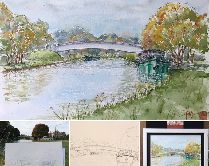 Original watercolor, barge on the canal. Hand-painted painting. Framed.
