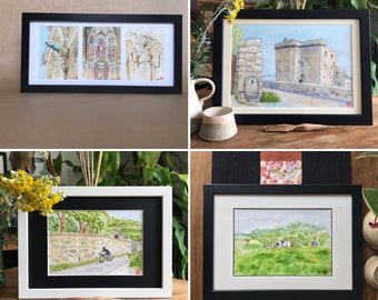 Custom framed watercolors painted by hand. For mother's day gift of fathers, birth, birthday.