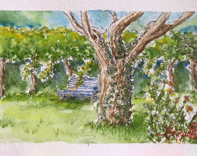 Watercolor A6, the bench in the garden, Original painting painted by hand.