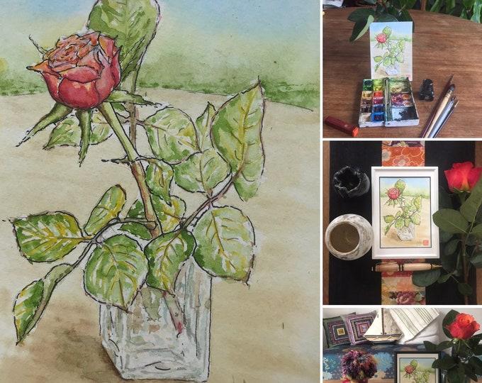 Watercolor, red pink, original hand-painted. Postcard format.