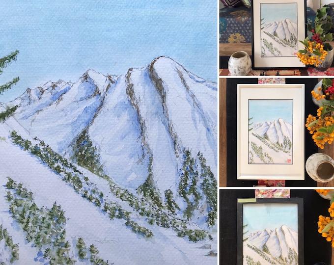 Watercolor A5, snowy Mount Charvet, Alps. Original. Hand painted.