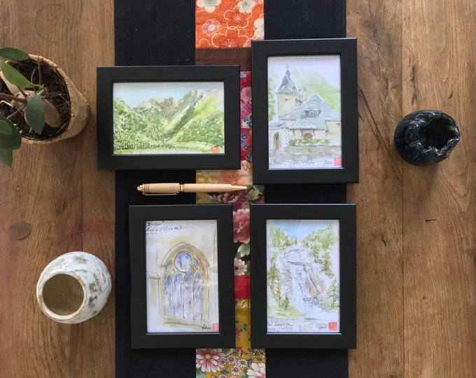 Paintings in watercolor, sketches on the Pyrenees, originals. Hand painted.