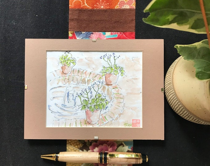Original watercolor, the fountain with flowers, garden Majorelle Marrakech, Hand painted painting postcard format.