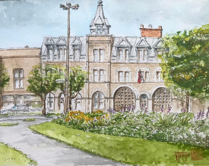 Original watercolor, barracks Num 16 Montreal. Hand-painted. Format A5.