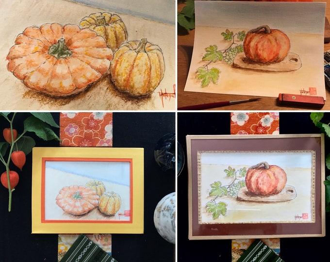 Original watercolor paintings, pumpkins and pumpkin.