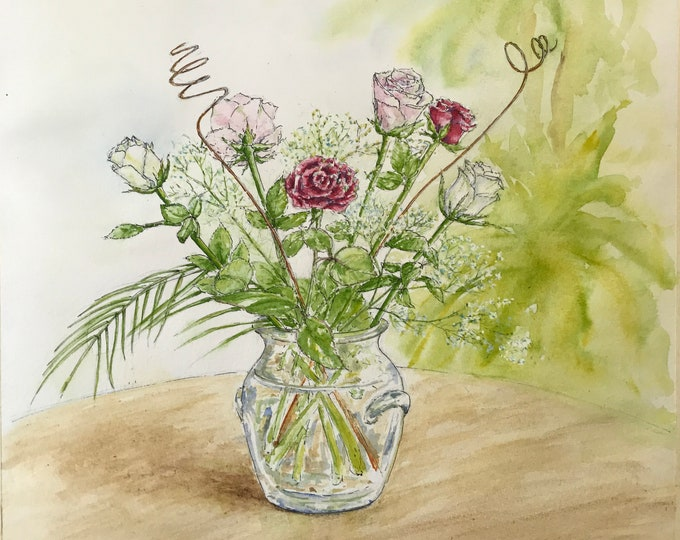Watercolor, Bouquet of Roses, original hand painted. Boxed table.