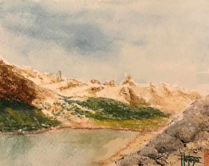 Watercolor, Lake Patagonia, original hand painted painting. Postcard format.