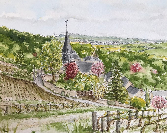 Original watercolor, village of Chenay in champagne. Original hand-painted painting.