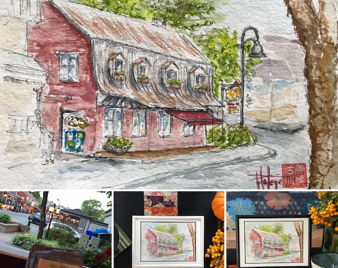 Watercolor, St Paul's Bay Canada, original hand painted. Postcard format.