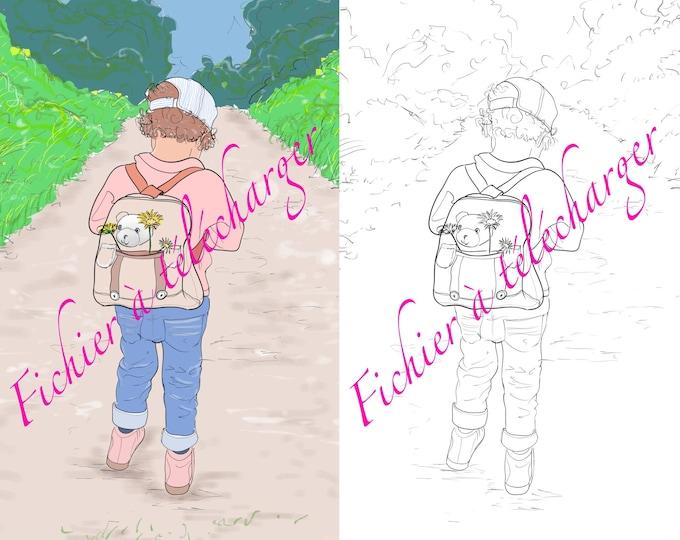 dessins numériques, balade d'une petite fille. Dessins en couleur et en noir et blanc.