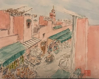 Original A5 watercolor, Souk Marrakech, hand painted painting