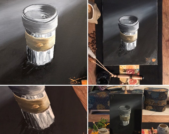 Painting with oil paint, coffee mug. Original hand-painted.