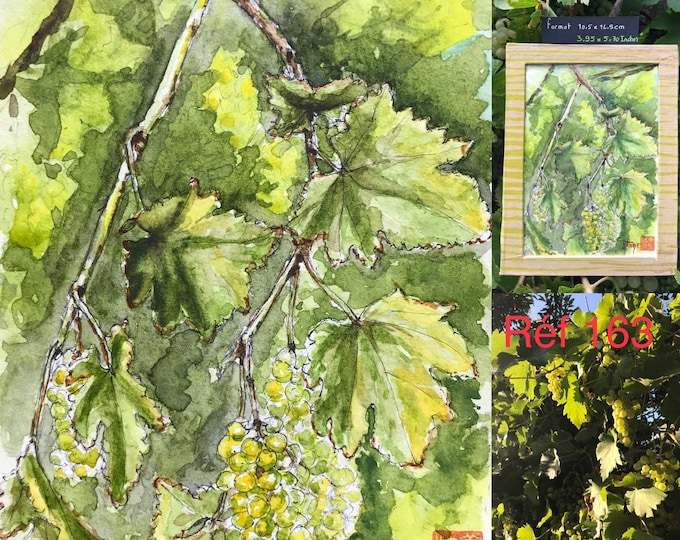 Watercolor, the vine, original hand painted. Postcard format. Hand painted.