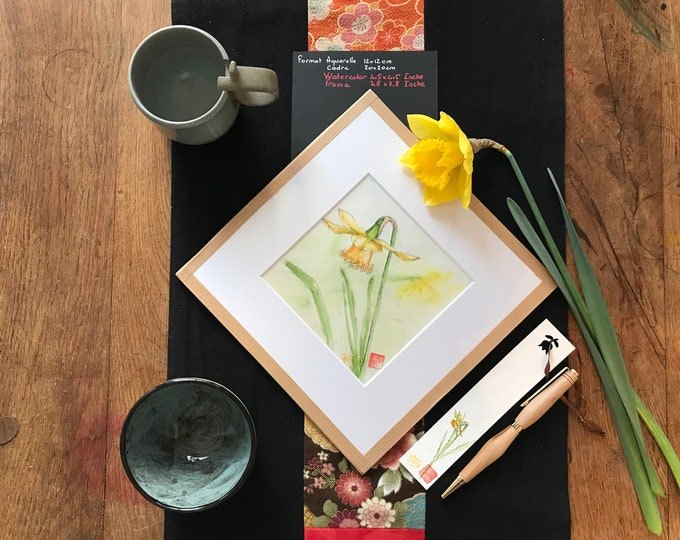 Triptych of original floral watercolors, diamond frame. Framed 20x20cm 7,8x7,8Inches