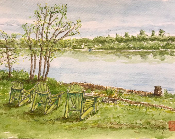 Watercolor, lake and Canadian armchairs. Original hand-painted.