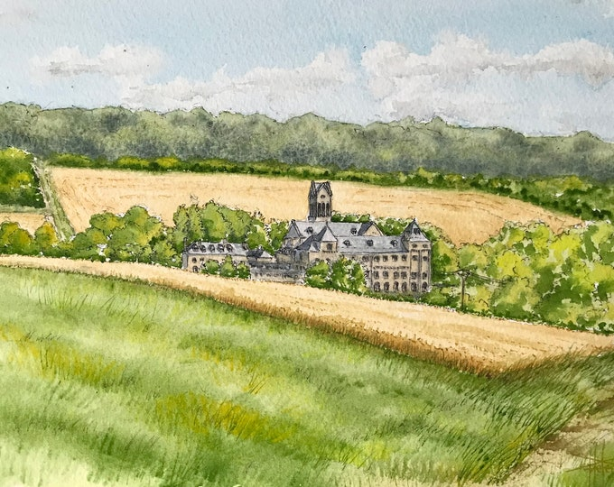 Original watercolor, Abbaye Val d'Igny, Hand painted painting, frame format A4.