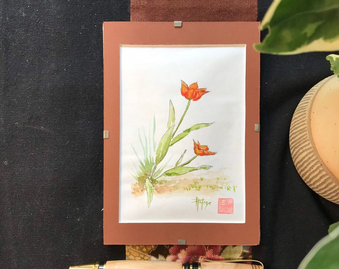 original sketch, the Tulips, painting painted in watercolor. postcard format