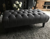 Large Slate Grey deep Buttoned plush velvet Bench Footstool Ottoman coffee table