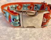 Handmade Dog Collar, Female Dog Collar, Girl Dog Collar, Jacquard Trim, Puppy Dog Collar, Orange Dog Collar, Floral Dog Collar