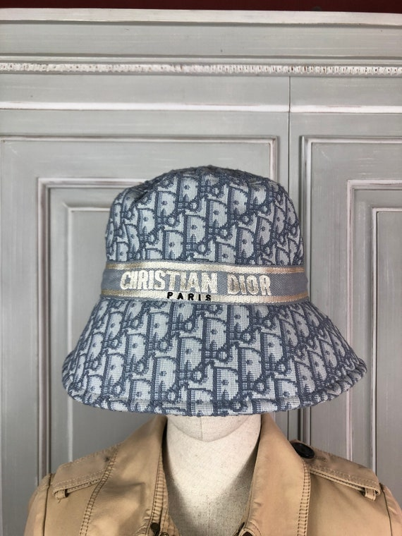 chrisiant dior monogram panama hat blue