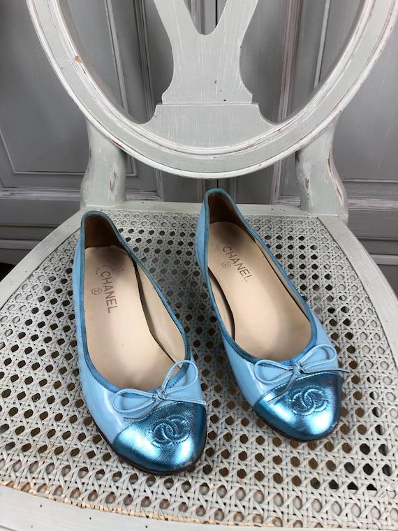 chanel ballet flats blue