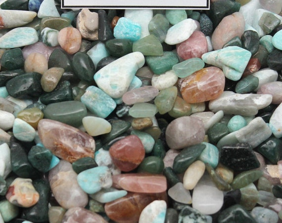 Glossy Quartz Tumbled Stone Mix - Amazonite, Red Quartz, Green Quartz .5- 1 inch in size Perfect for Resin Casting and Crystal Healing