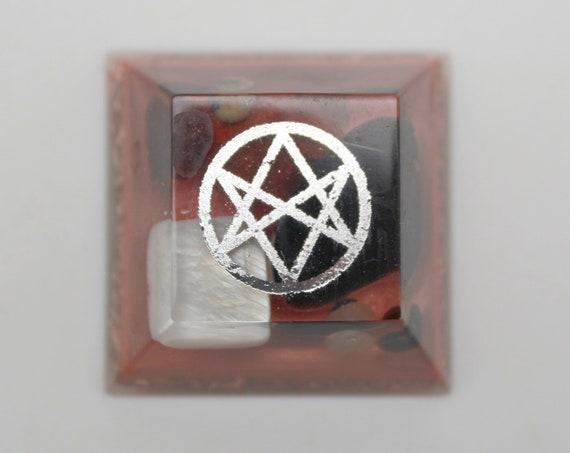 Unicursal Hexagram Magic Totem - Pocket Rocket - Obsidian, Garnet, Mother of Pearl, Red Jasper Background Copper - 1.25 inch