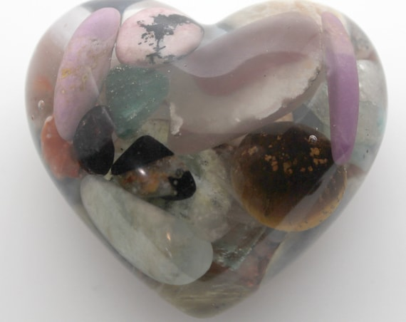 Heart with Beautiful Minerals with thick viewing area - Copper, Quartz, Kyanite, Tiger Eye, Rhodonite, Agate - all Natural 2.25 Inch Orgone
