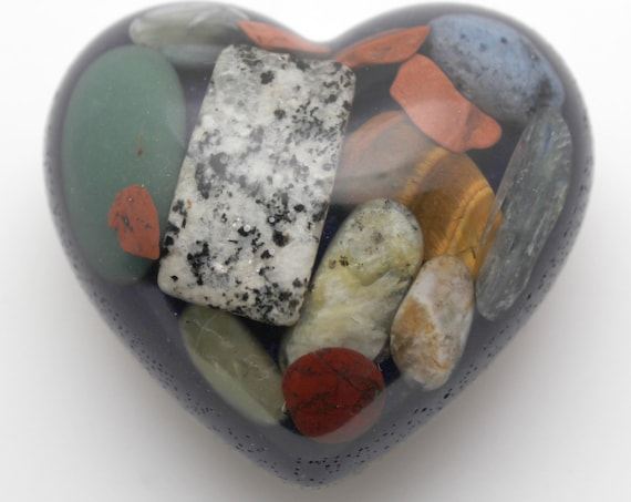 Heart with Beautiful Minerals on Blue Azurite and Opalite - Copper, Quartz, Kyanite, Tiger Eye, Banded Agate, all Natural 2.25 Inch Orgone