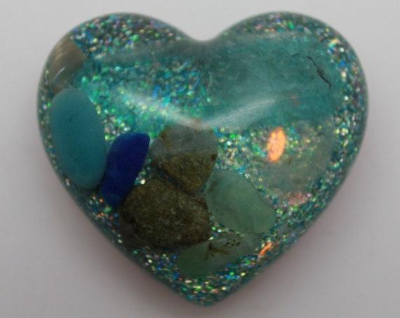 Ocean Spray Resin Heart - LONG aqua aura Quartz crystal with Opalite, Epidote, Lapis, Aquamarine, Seashell and Copper - 2 Inch Altar Piece