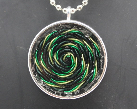 Green, Black and Yellow Spiral -  EMF Blocking Necklace - Shredded Steel with tight Handspun Coil Simple Eye Catching Pendant