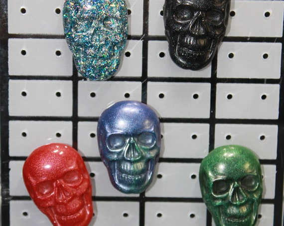 Wholesale Pinbacks - Skulls - 5 Skull Pins - One Low Price!  1 inch pin - Resin Colorful Decorative Accessories!