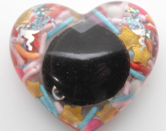 2 inch Oreo Cookie Heart with Glitter Unicorns and Sprinkles! Chocolate Cookie Goodness forever trapped in Heart Form!