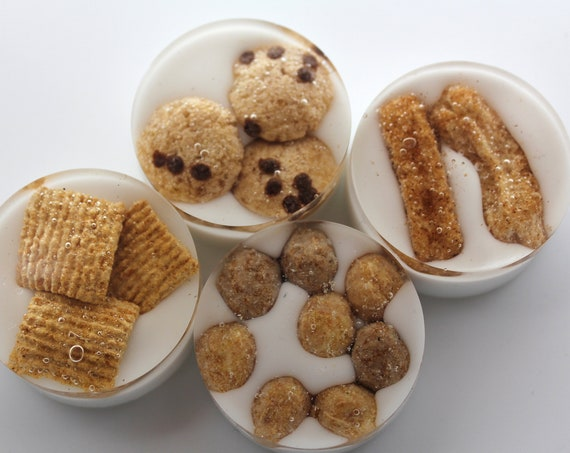 """4 Breakfast Cereal Magnets - Made from Real Food - Cookie Crisp, Golden Grams, Reese's' Puffs 1.5 inch rounds Fun with Food in """"Milk"""""""
