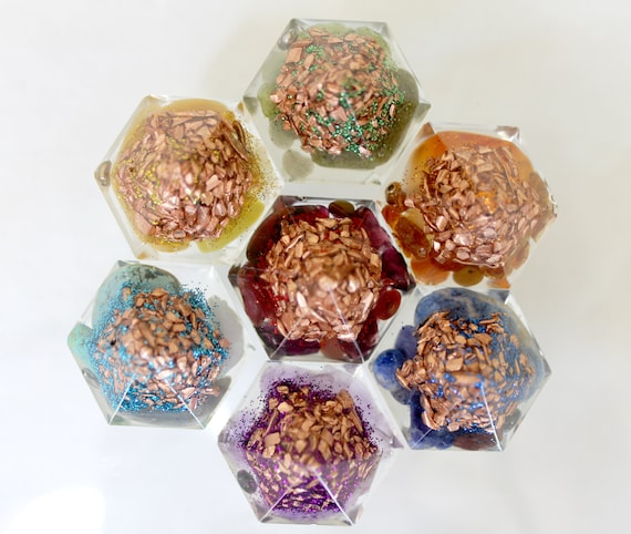 Orgone Chakra Set 1+ Inch Gems Filled with Minerals and Copper - Perfect Reiki Healing Collection - All 7 Colors