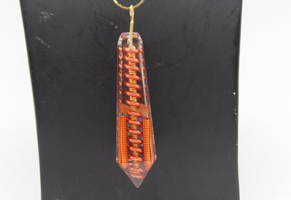 Canned Orange - Big Main Coil of Yellow, Over-twisted with Orange with Carnelian - Long Flat Top Crystal Gem on Simple Chain