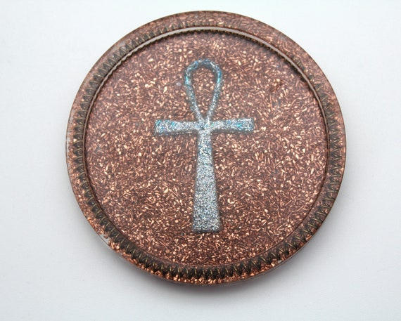 3 inch Coaster Altar Item - Sparkling Ankh with Coils on Recycled Copper - Perfect for Recharging Tumbled Stones! Spoon Rest! Altar Tray!