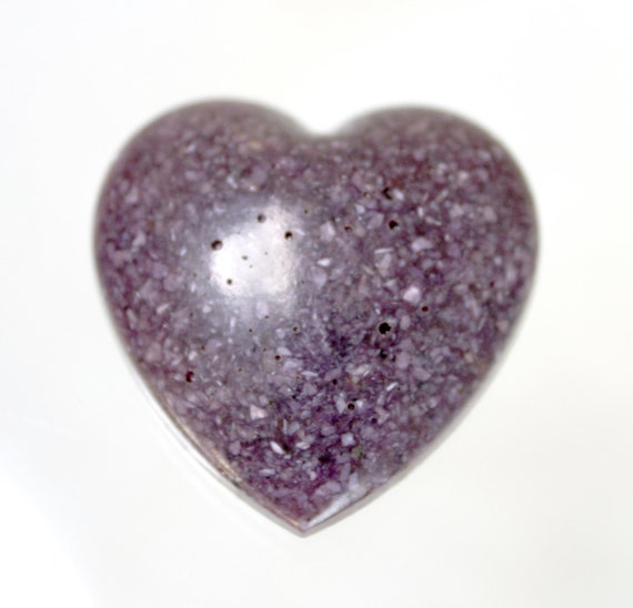 Charoite Heart - Crushed and Mixed with Resin - 1.25 inch - Purple Unique Handmade